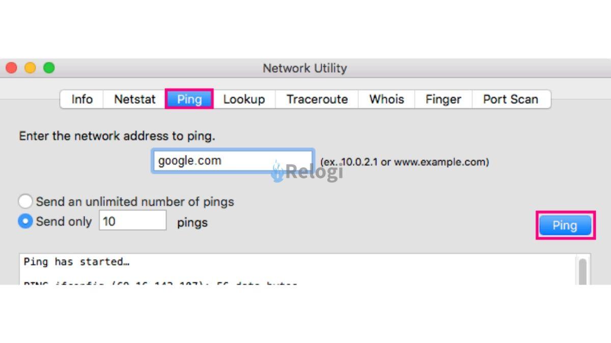 Proses ping ke google.com