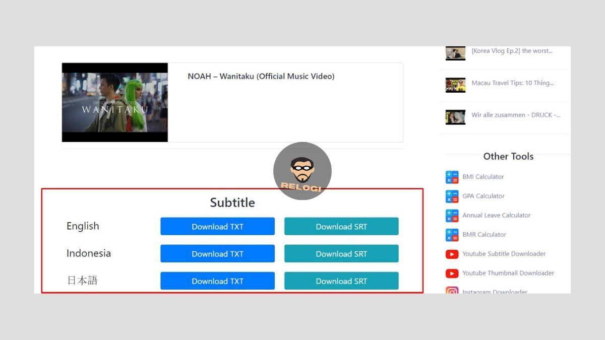 Download subtitle klik tombol download