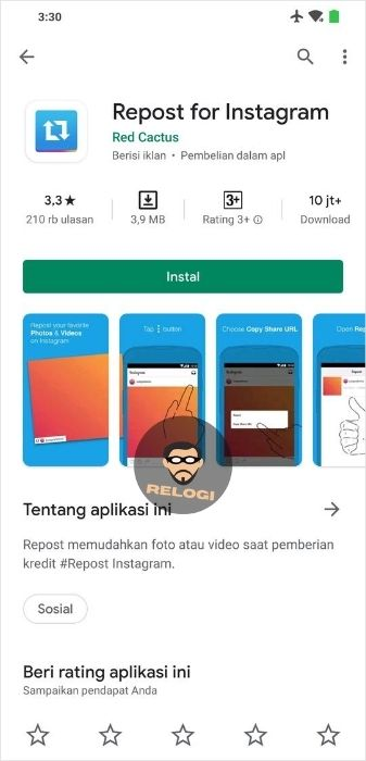 Install repost for Instagram