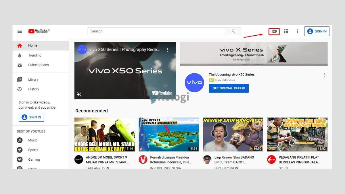 Klik ikon kamera video