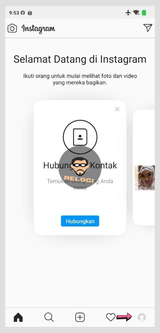 Klik ikon profile pada pojok kanan bawah aplikasi IG