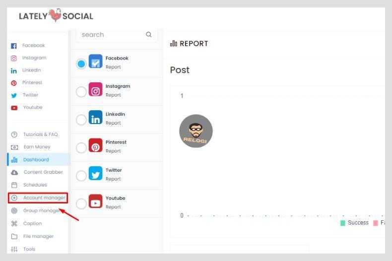 Klik menu Account manager