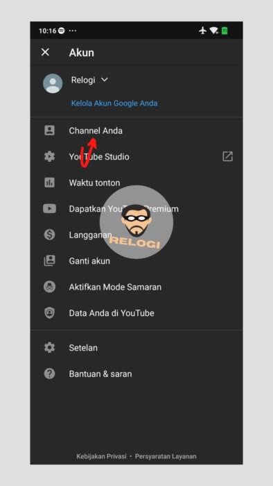 Klik opsi Channel Anda