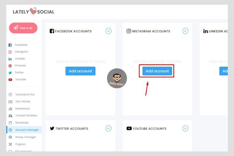 Klik tombol add account