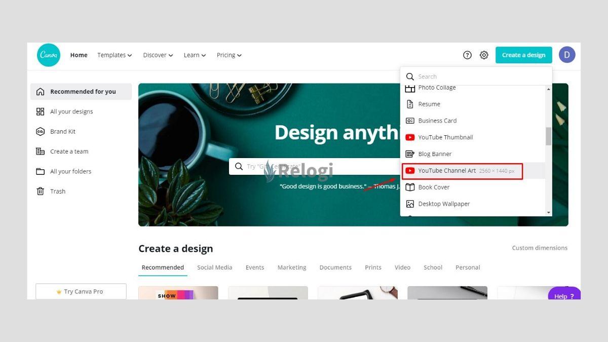 Klik tombol create a design pilih youtube channel art