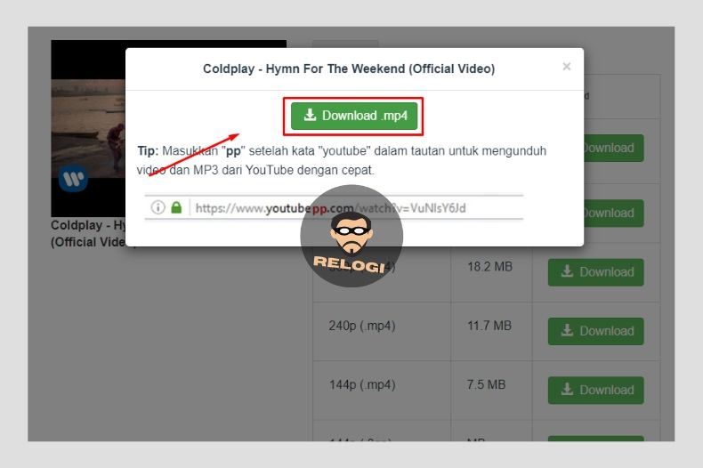 Klik tombol download pada pop up