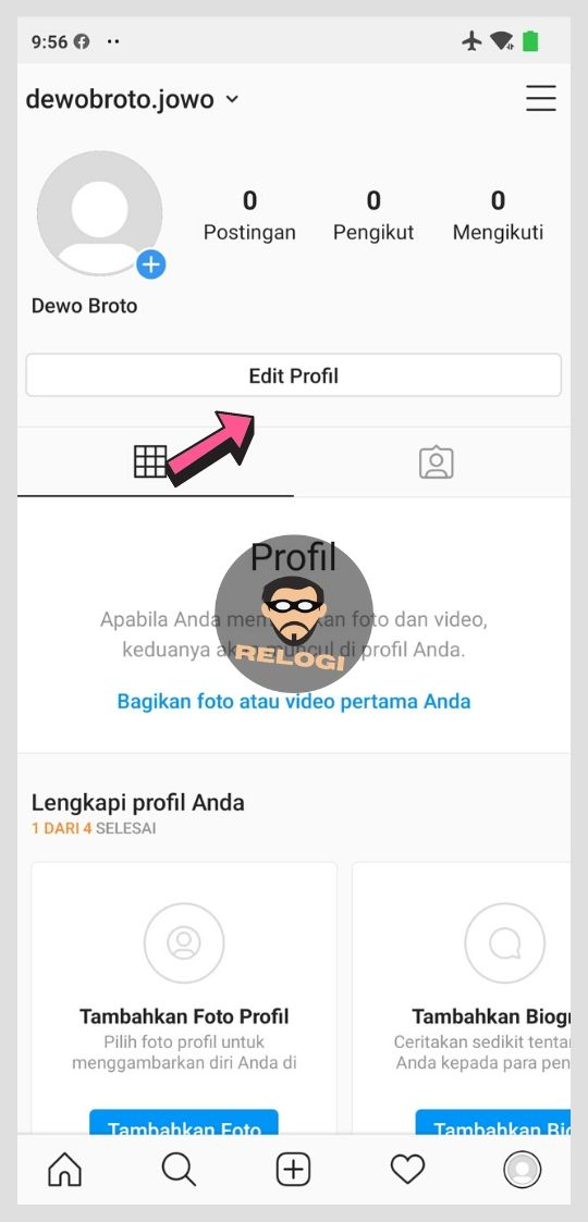 Klik tombol edit profile