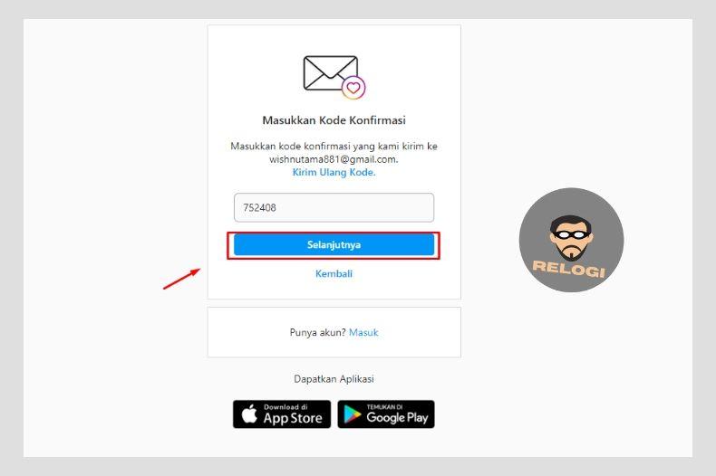 Masukan kode verifikasi ig