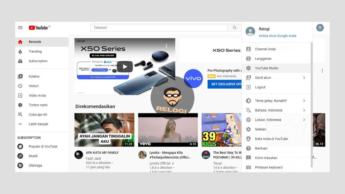 Pilih opsi YouTube Studio