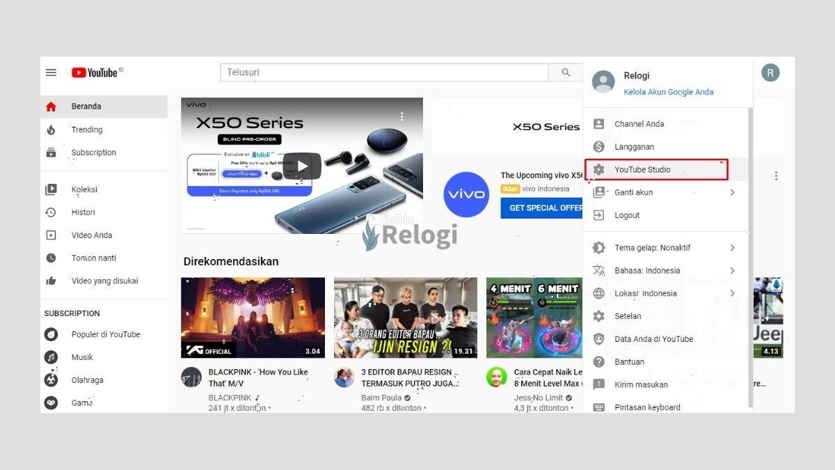 Pilihlah opsi YouTube studio
