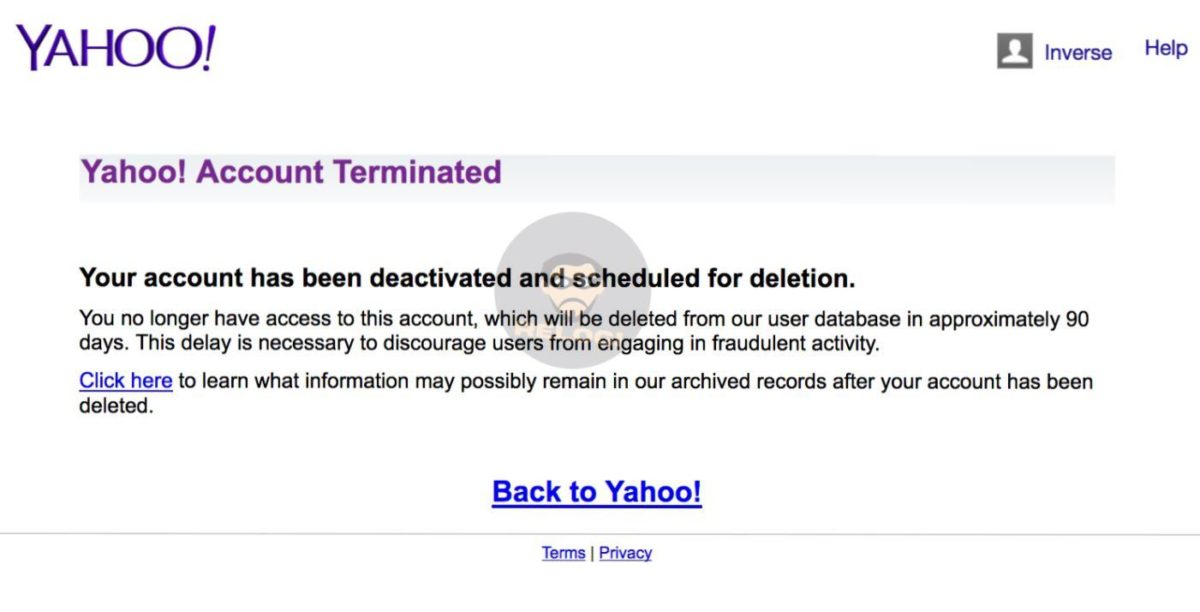 yahoo Your account has been deactivated and scheduled for deletion